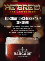 He'Brew Night — December 16th, 2014 at Barcade® in New York, NY