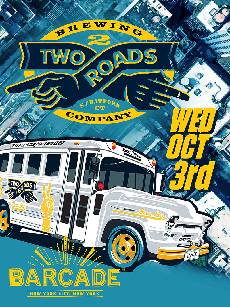 Two Roads Brewing Co. Night — October 3, 2018 at Barcade® in New York, NY (Chelsea)
