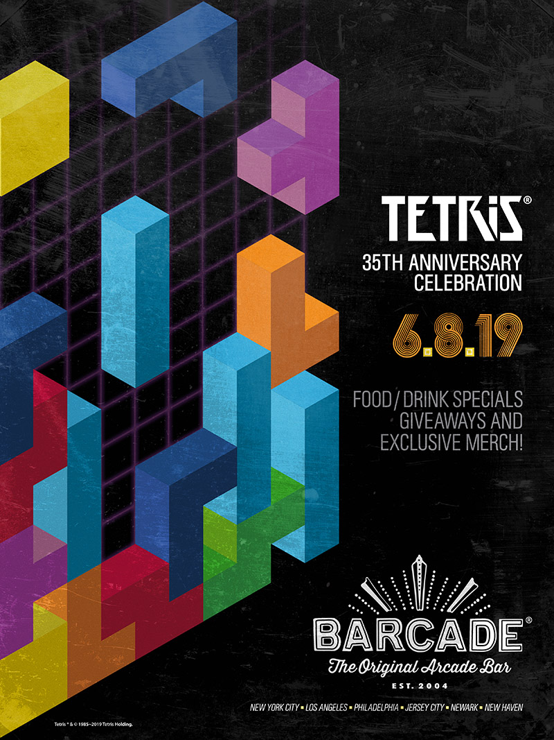 Barcade Tetris® 35th Anniversary Event Poster — June 8, 2019 at all Barcade locations