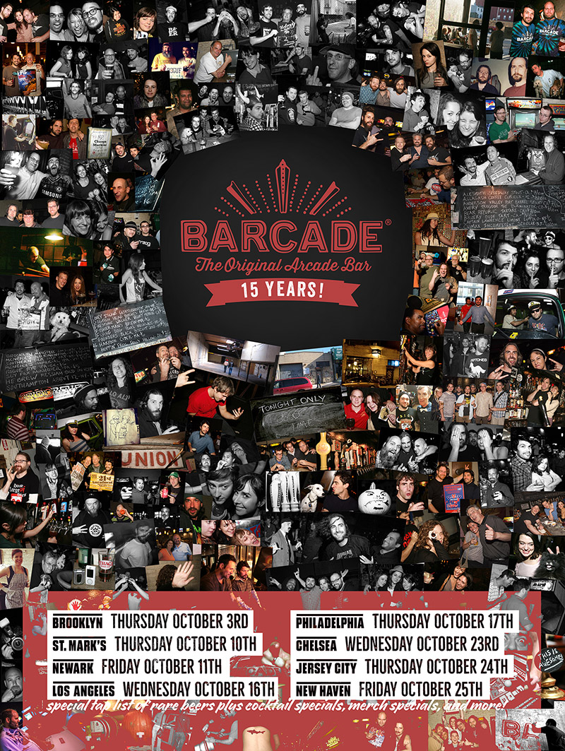 Barcade 15th Anniversary Celebration — October 23, 2019 at Barcade® in New York, New York | poster