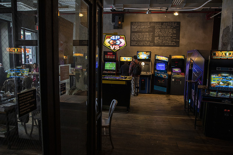 Barcade® New York interior photo arcade video games and pinball patrons