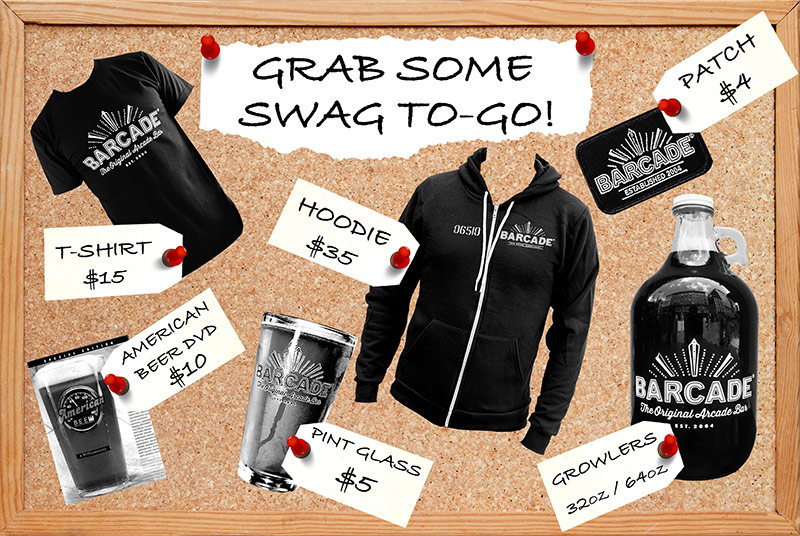 """Barcade® Merch to purchase """"swag to-go"""" merch graphic"""