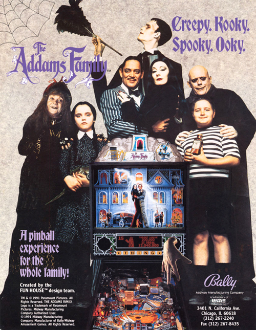 The Addams Family (pinball) — 1992 at Barcade® in New York, NY | arcade game flyer graphic