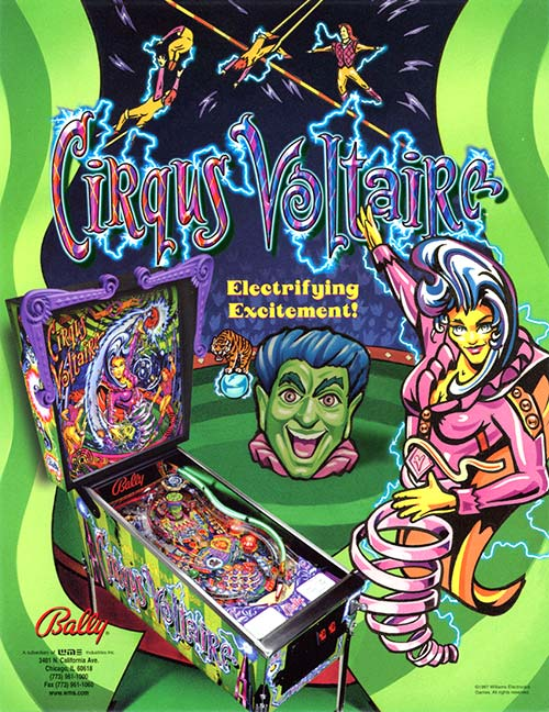 Cirqus Voltaire (pinball) — 1997 at Barcade® in New York, NY   arcade game flyer graphic